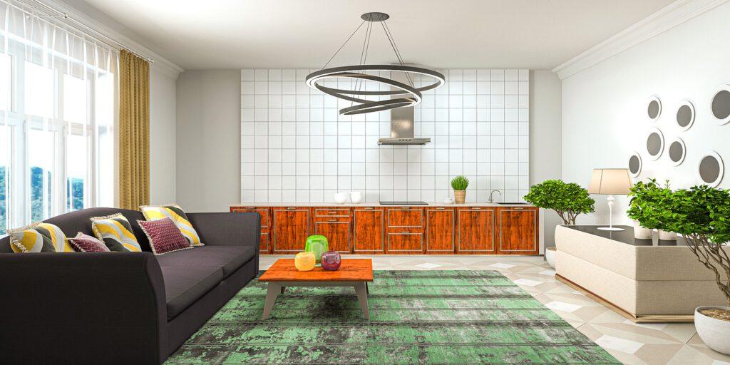 Modernes Wohnzimmer schwarzes Sofa